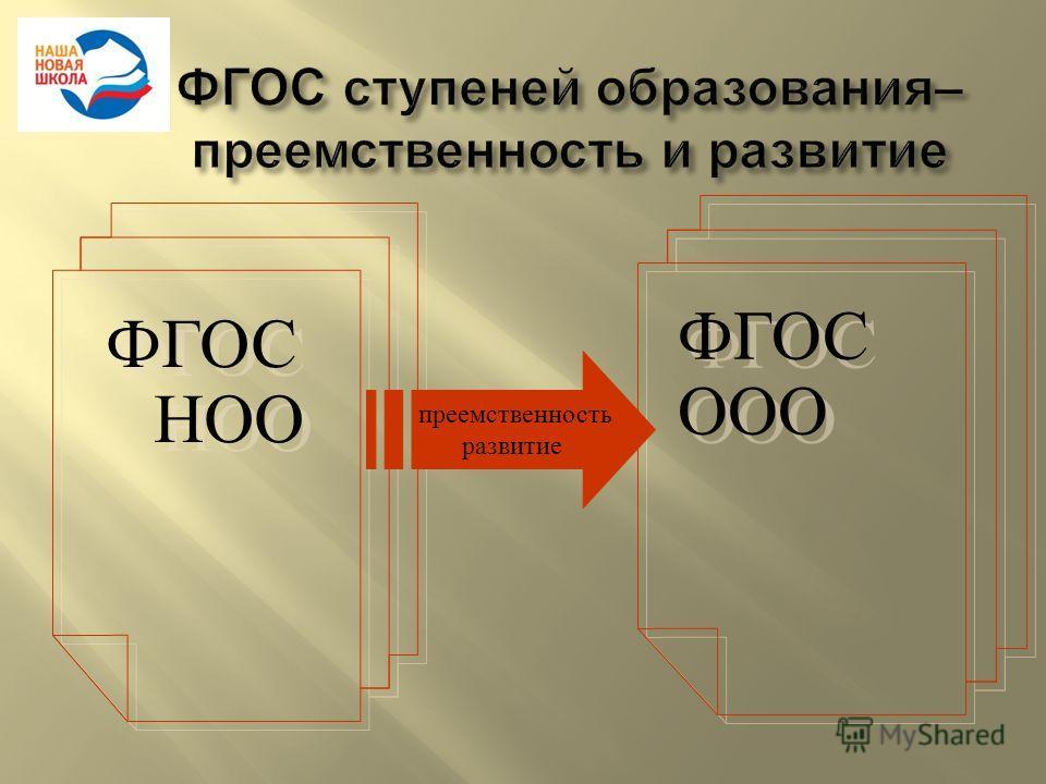 ФГОС НОО ФГОС ООО преемственность развитие