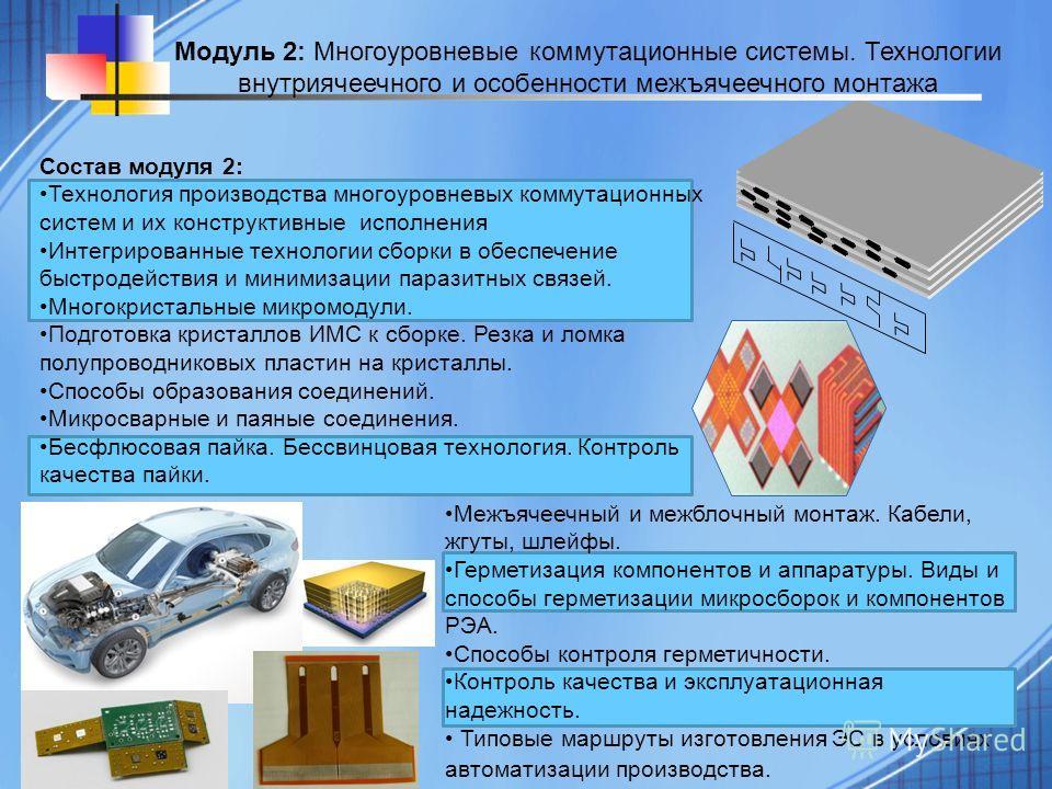 Состав модуля 2: Технология производства многоуровневых коммутационных систем и их конструктивные исполнения Интегрированные технологии сборки в обеспечение быстродействия и минимизации паразитных связей. Многокристальные микромодули. Подготовка крис