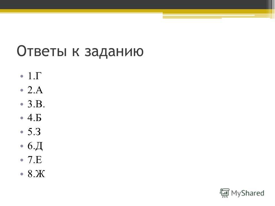 Ответы к заданию 1.Г 2.А 3.В. 4.Б 5.З 6.Д 7.Е 8.Ж