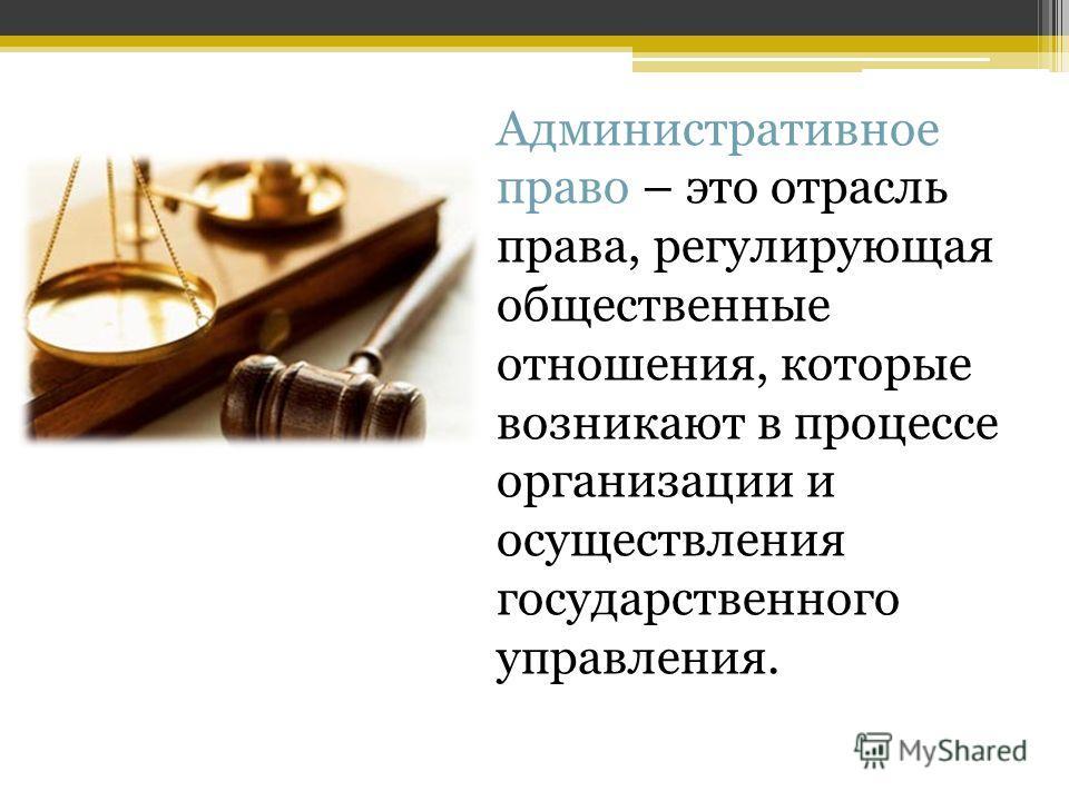 Административное право – это отрасль права, регулирующая общественные отношения, которые возникают в процессе организации и осуществления государственного управления.