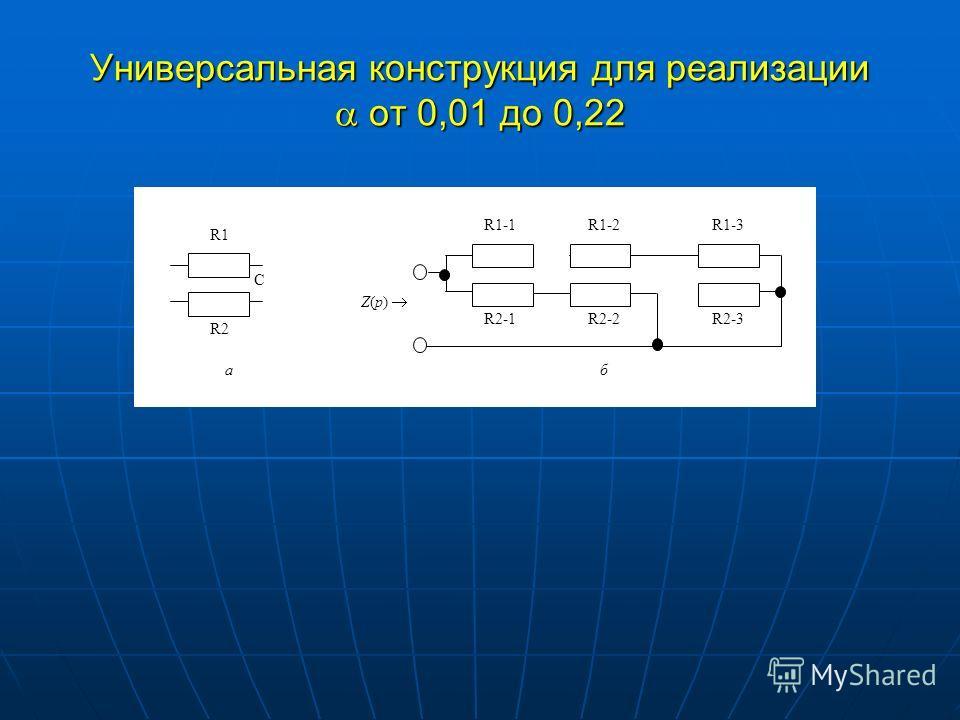 Универсальная конструкция для реализации от 0,01 до 0,22 R1-1 Z(p) R2-1 R1-2 R2-2 R1-3 R2-3 С R1 R2 аб