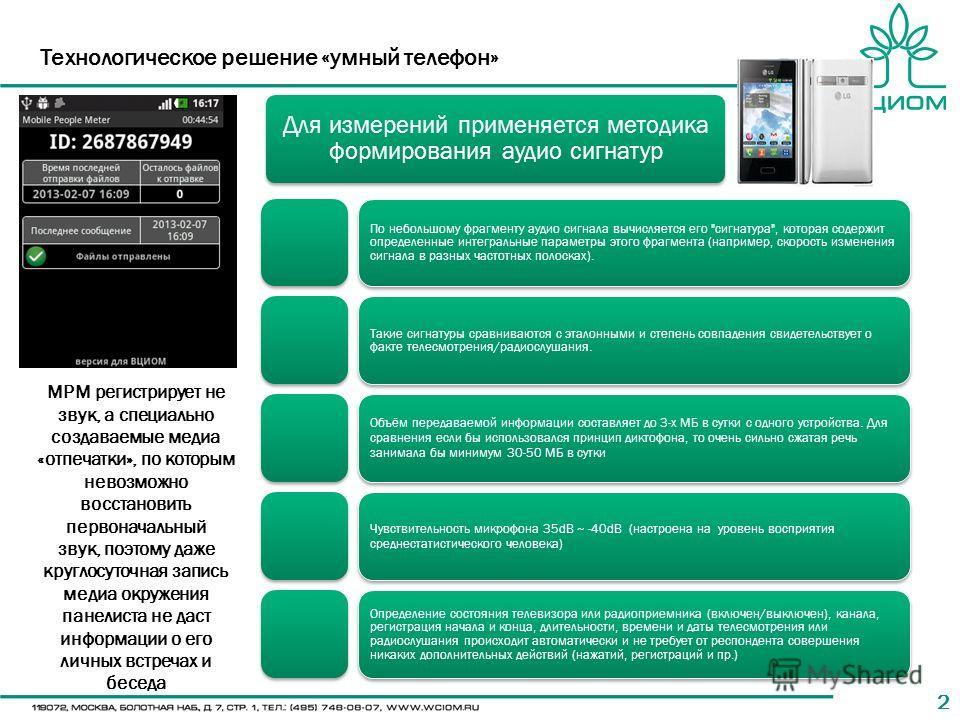 22 Технологическое решение «умный телефон» Для измерений применяется методика формирования аудио сигнатур По небольшому фрагменту аудио сигнала вычисляется его