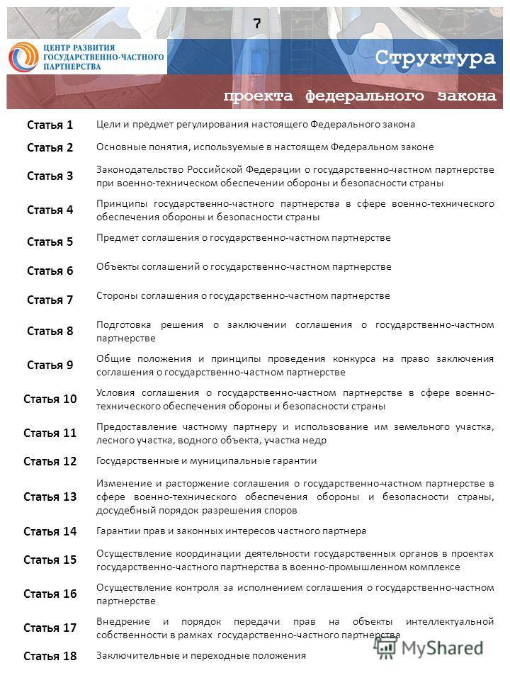 Структура проекта федерального закона Статья 1 Цели и предмет регулирования настоящего Федерального закона Статья 2 Основные понятия, используемые в настоящем Федеральном законе Статья 3 Законодательство Российской Федерации о государственно-частном