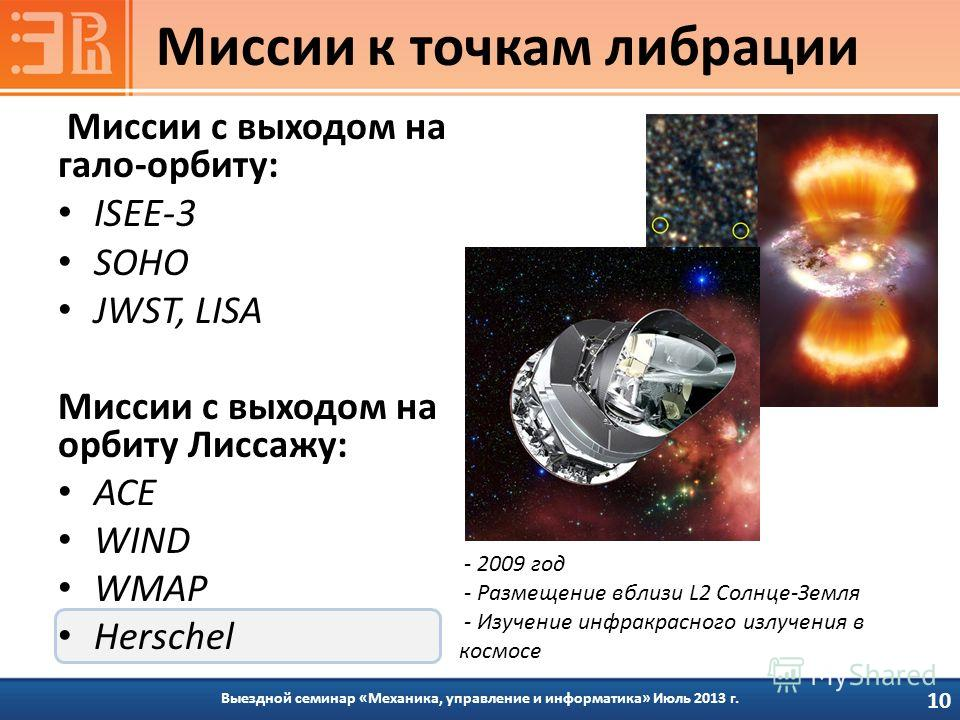 Миссии с выходом на гало-орбиту: ISEE-3 SOHO JWST, LISA Миссии с выходом на орбиту Лиссажу: ACE WIND WMAP Herschel Выездной семинар «Механика, управление и информатика» Июль 2013 г. Миссии к точкам либрации 10 - 2009 год - Размещение вблизи L2 Солнце