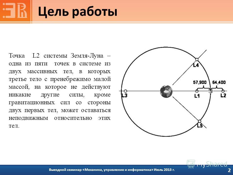 Цель работы 2 Выездной семинар «Механика, управление и информатика» Июль 2013 г. Точка L2 системы Земля-Луна – одна из пяти точек в системе из двух массивных тел, в которых третье тело с пренебрежимо малой массой, на которое не действуют никакие друг