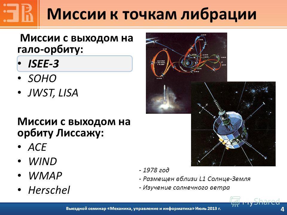 Миссии с выходом на гало-орбиту: ISEE-3 SOHO JWST, LISA Миссии с выходом на орбиту Лиссажу: ACE WIND WMAP Herschel Выездной семинар «Механика, управление и информатика» Июль 2013 г. Миссии к точкам либрации 4 - 1978 год - Размещен вблизи L1 Солнце-Зе