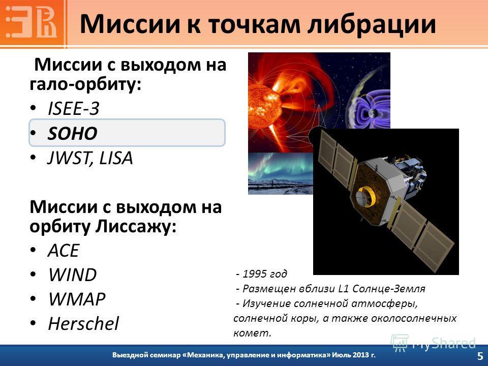Миссии с выходом на гало-орбиту: ISEE-3 SOHO JWST, LISA Миссии с выходом на орбиту Лиссажу: ACE WIND WMAP Herschel Выездной семинар «Механика, управление и информатика» Июль 2013 г. Миссии к точкам либрации 5 - 1995 год - Размещен вблизи L1 Солнце-Зе