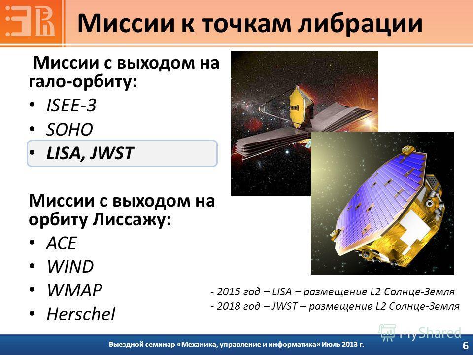 Миссии с выходом на гало-орбиту: ISEE-3 SOHO LISA, JWST Миссии с выходом на орбиту Лиссажу: ACE WIND WMAP Herschel Выездной семинар «Механика, управление и информатика» Июль 2013 г. Миссии к точкам либрации 6 - 2015 год – LISA – размещение L2 Солнце-