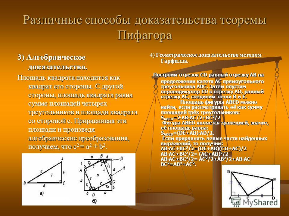 Различные способы доказательства теоремы Пифагора 3) Алгебраическое доказательство. Площадь квадрата находится как квадрат его стороны. С другой стороны, площадь квадрата равна сумме площадей четырех треугольников и площади квадрата со стороной с. Пр