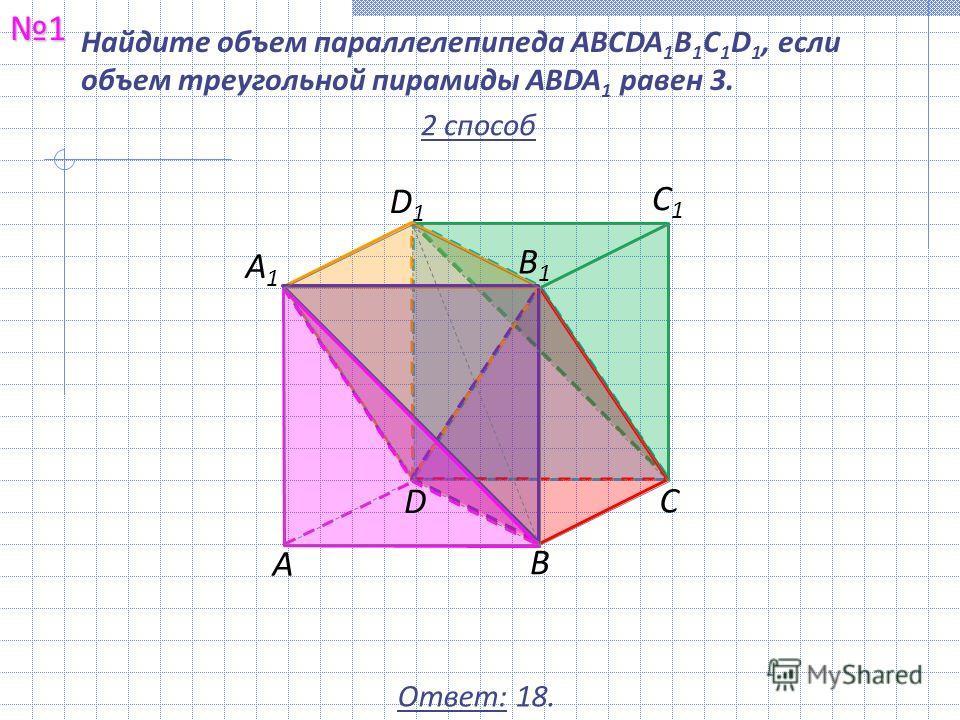 Найдите объем параллелепипеда ABCDA 1 B 1 C 1 D 1, если объем треугольной пирамиды ABDA 1 равен 3.1 Ответ: 18. С1С1 В1В1 А С В D А1А1 D1D1 2 способ