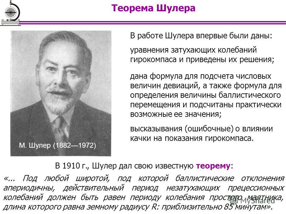 Теорема Шулера В 1910 г., Шулер дал свою известную теорему: «... Под любой широтой, под которой баллистические отклонения апериодичны, действительный период незатухающих прецессионных колебаний должен быть равен периоду колебания простого маятника, д
