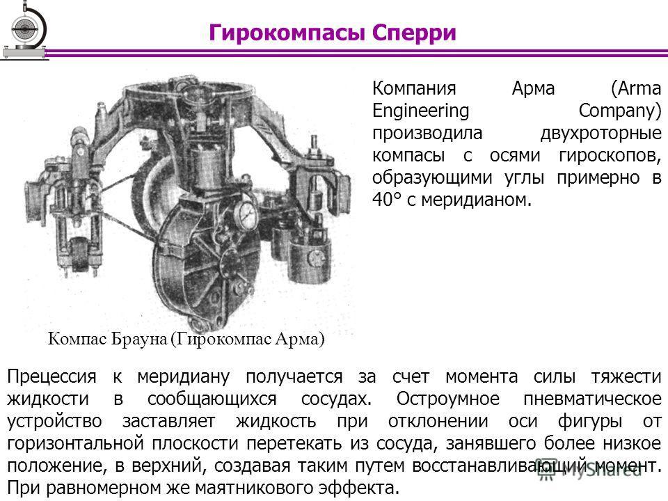Компания Арма (Arma Engineering Company) производила двухроторные компасы с осями гироскопов, образующими углы примерно в 40° с меридианом. Прецессия к меридиану получается за счет момента силы тяжести жидкости в сообщающихся сосудах. Остроумное пнев