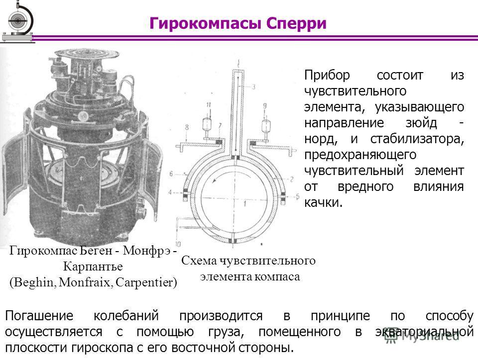 Погашение колебаний производится в принципе по способу осуществляется с помощью груза, помещенного в экваториальной плоскости гироскопа с его восточной стороны. Прибор состоит из чувствительного элемента, указывающего направление зюйд - норд, и стаби