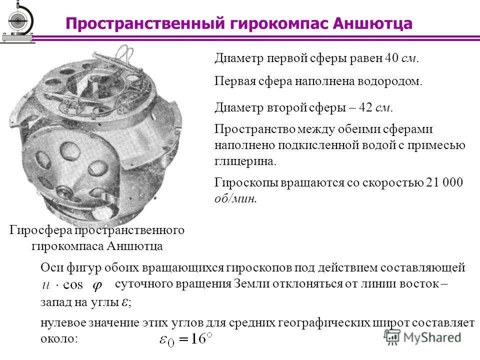 Диаметр первой сферы равен 40 см. Диаметр второй сферы – 42 см. Первая сфера наполнена водородом. Пространство между обеими сферами наполнено подкисленной водой с примесью глицерина. Оси фигур обоих вращающихся гироскопов под действием составляющей с