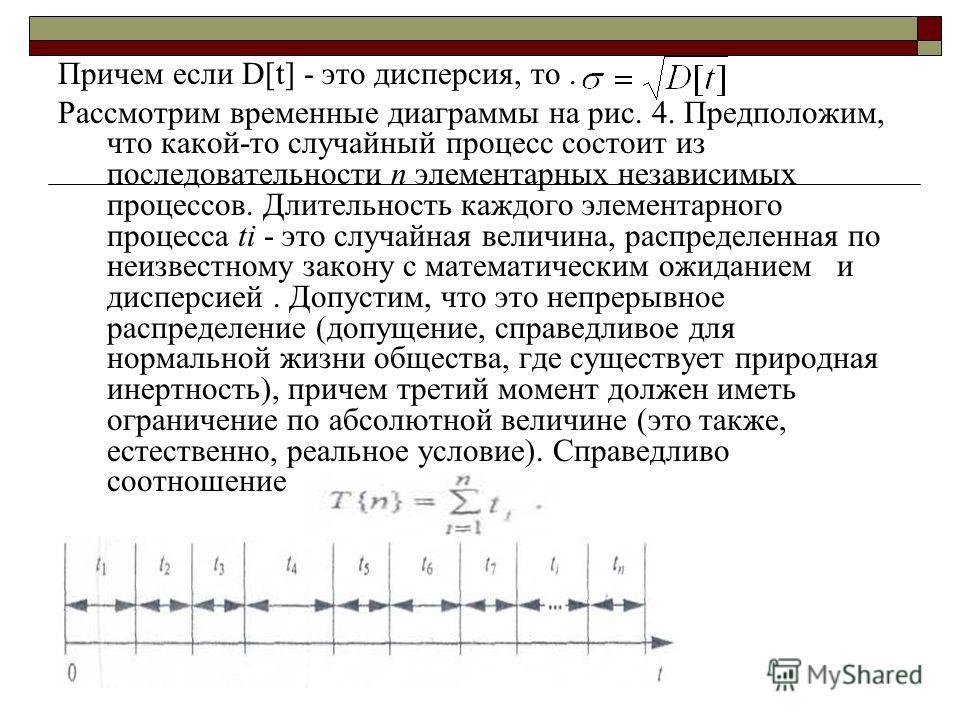 Причем если D[t] - это дисперсия, то. Рассмотрим временные диаграммы на рис. 4. Предположим, что какой-то случайный процесс состоит из последовательности n элементарных независимых процессов. Длительность каждого элементарного процесса ti - это случа