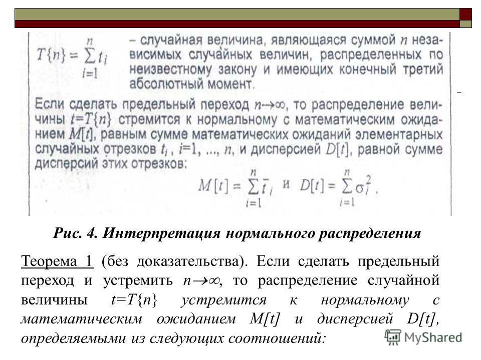 Рис. 4. Интерпретация нормального распределения Теорема 1 (без доказательства). Если сделать предельный переход и устремить n, то распределение случайной величины t=T{n} устремится к нормальному с математическим ожиданием M[t] и дисперсией D[t], опре
