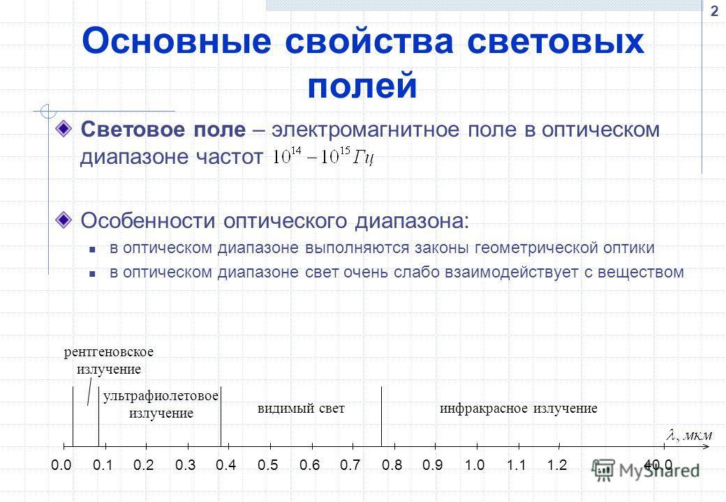 2 Основные свойства световых полей Световое поле – электромагнитное поле в оптическом диапазоне частот Особенности оптического диапазона: в оптическом диапазоне выполняются законы геометрической оптики в оптическом диапазоне свет очень слабо взаимоде
