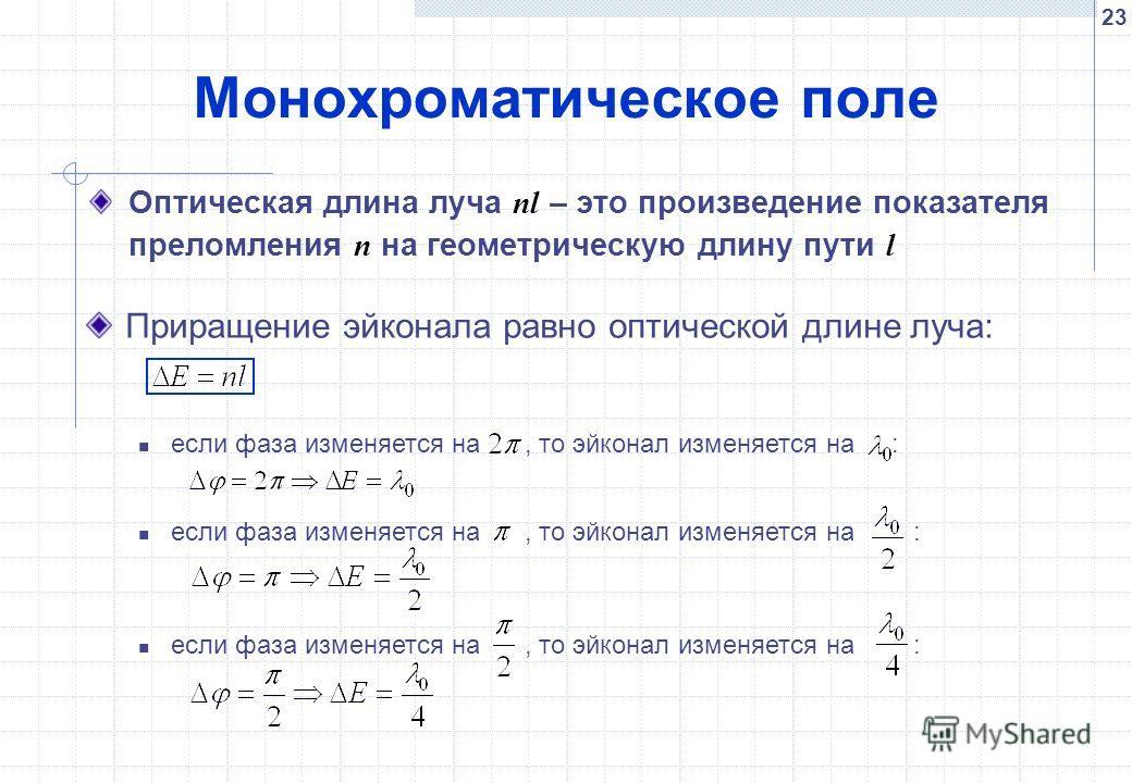 23 Монохроматическое поле Оптическая длина луча nl – это произведение показателя преломления n на геометрическую длину пути l если фаза изменяется на, то эйконал изменяется на : Приращение эйконала равно оптической длине луча: