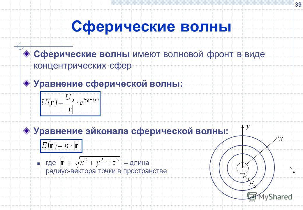 39 Сферические волны Сферические волны имеют волновой фронт в виде концентрических сфер Уравнение эйконала сферической волны: где – длина радиус-вектора точки в пространстве x y z … Уравнение сферической волны: