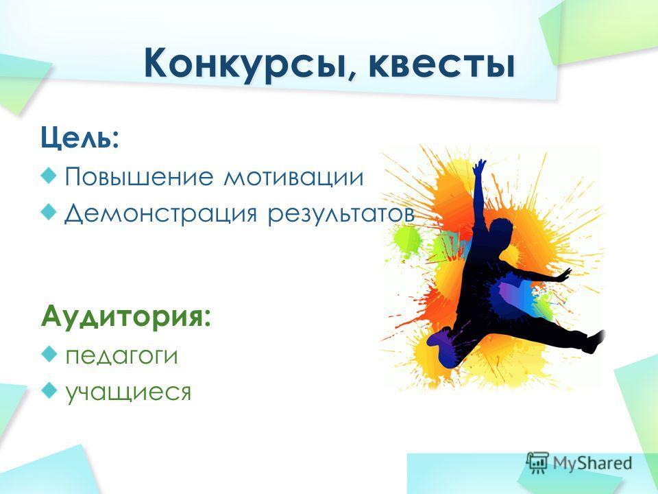 Цель: Повышение мотивации Демонстрация результатов Аудитория: педагоги учащиеся