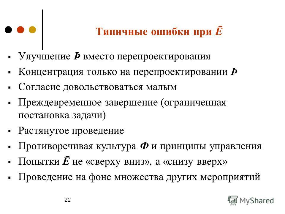 Типичные ошибки при Ē Улучшение Þ вместо перепроектирования Концентрация только на перепроектировании Þ Согласие довольствоваться малым Преждевременное завершение (ограниченная постановка задачи) Растянутое проведение Противоречивая культура Ф и прин