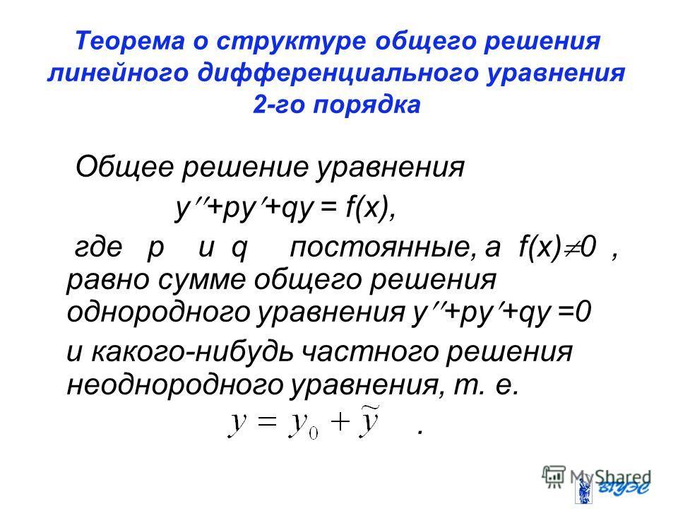 Теорема о структуре общего решения линейного дифференциального уравнения 2-го порядка Общее решение уравнения y +py +qy = f(x), где p и q постоянные, а f(x) 0, равно сумме общего решения однородного уравнения y +py +qy =0 и какого-нибудь частного реш