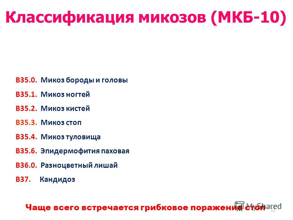 В35.0. Микоз бороды и головы В35.1. Микоз ногтей В35.2. Микоз кистей В35.3. Микоз стоп В35.4. Микоз туловища В35.6. Эпидермофития паховая В36.0. Разноцветный лишай В37. Кандидоз 12 Классификация микозов (МКБ-10) Чаще всего встречается грибковое пораж