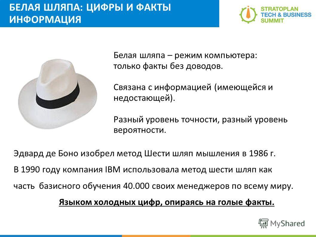 БЕЛАЯ ШЛЯПА: ЦИФРЫ И ФАКТЫ ИНФОРМАЦИЯ Эдвард де Боно изобрел метод Шести шляп мышления в 1986 г. В 1990 году компания IBM использовала метод шести шляп как часть базисного обучения 40.000 своих менеджеров по всему миру. Языком холодных цифр, опираясь