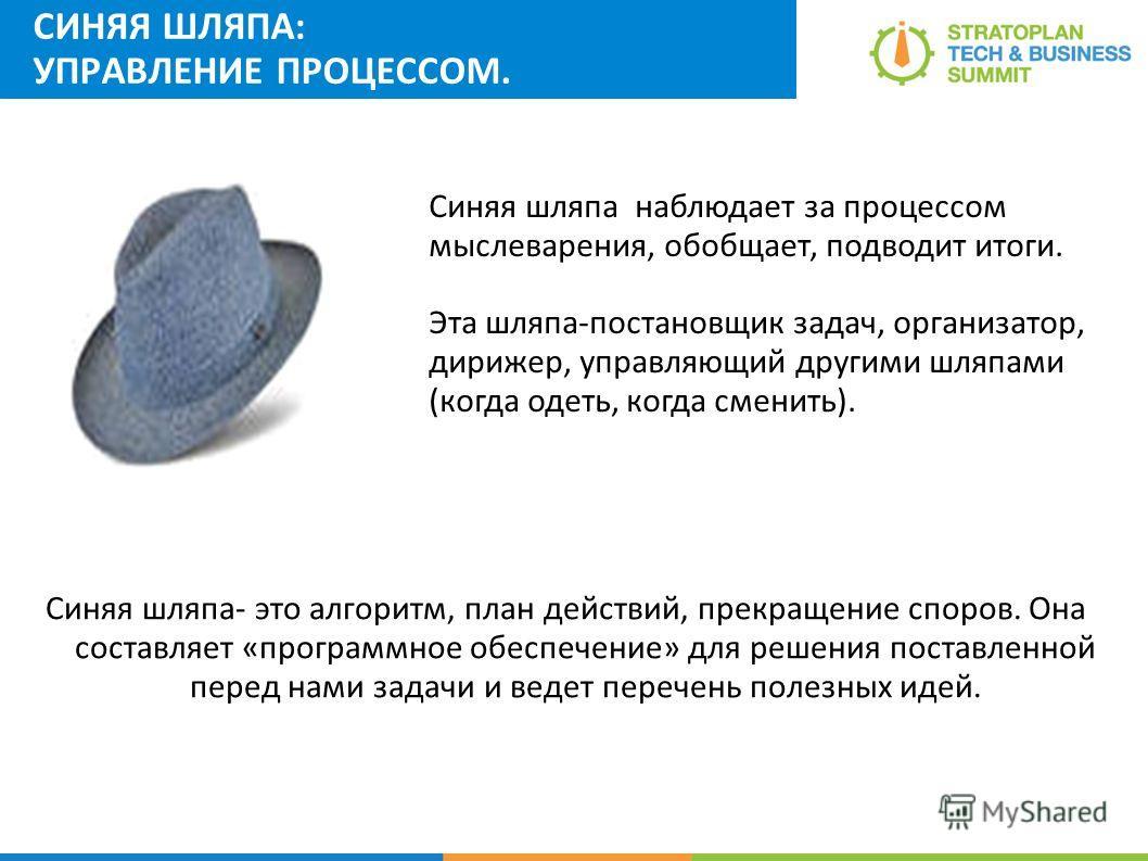 СИНЯЯ ШЛЯПА: УПРАВЛЕНИЕ ПРОЦЕССОМ. Синяя шляпа- это алгоритм, план действий, прекращение споров. Она составляет «программное обеспечение» для решения поставленной перед нами задачи и ведет перечень полезных идей. Синяя шляпа наблюдает за процессом мы