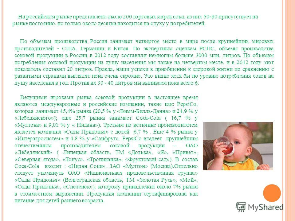 На российском рынке представлено около 200 торговых марок сока, из них 50-80 присутствует на рынке постоянно, но только около десятка находится на слуху у потребителей. По объемам производства Россия занимает четвертое место в мире после крупнейших м