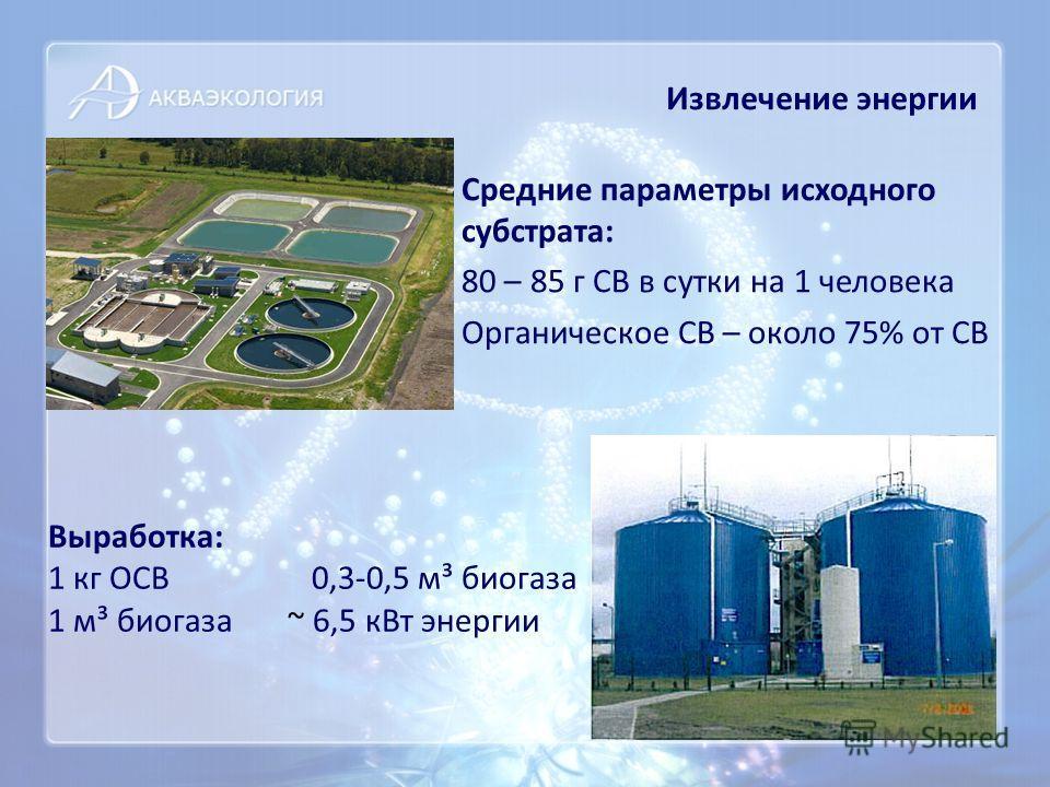 Средние параметры исходного субстрата: 80 – 85 г СВ в сутки на 1 человека Органическое СВ – около 75% от СВ Извлечение энергии Выработка: 1 кг ОСВ 0,3-0,5 м³ биогаза 1 м³ биогаза ~ 6,5 кВт энергии