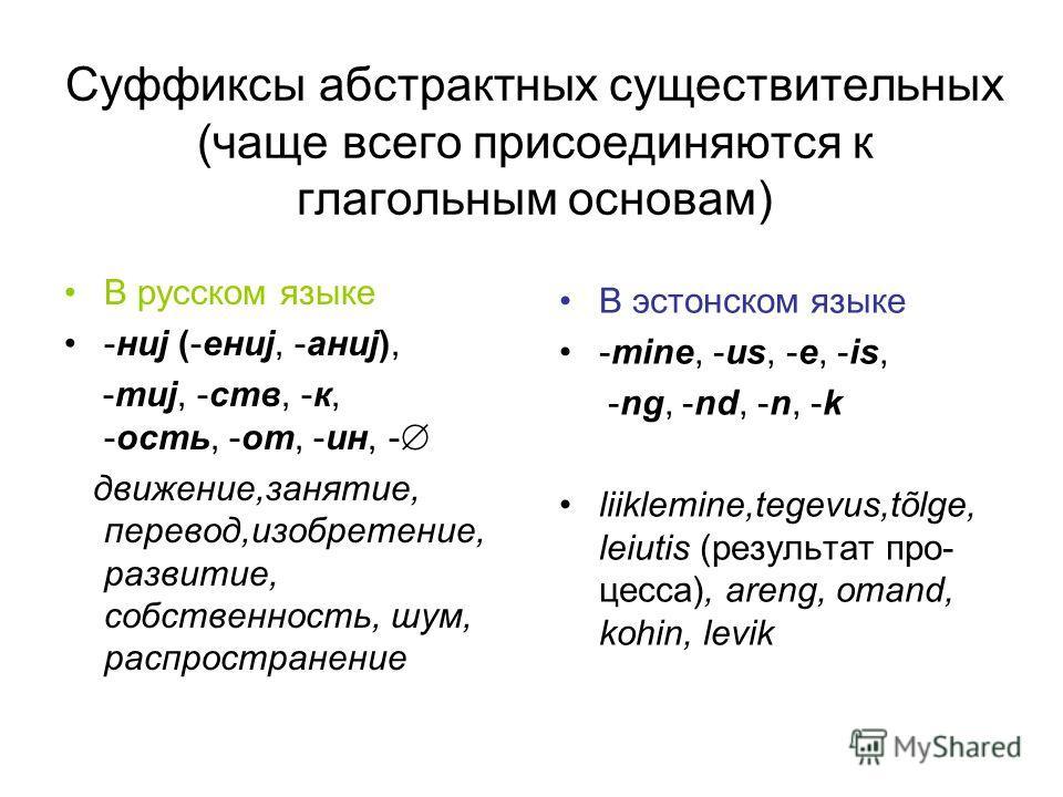 Cуффиксы абстрактных существительных (чаще всего присоединяются к глагольным основам) В русском языке -ниj (-ениj, -аниj), -тиj, -ств, -к, -ость, -от, -ин, - движение,занятие, перевод,изобретение, развитие, собственность, шум, распространение В эстон