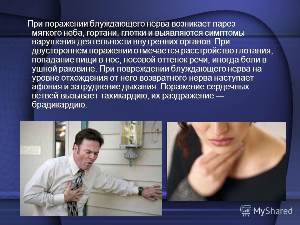При поражении блуждающего нерва возникает парез мягкого неба, гортани, глотки и выявляются симптомы нарушения деятельности внутренних органов. При двустороннем поражении отмечается расстройство глотания, попадание пищи в нос, носовой оттенок речи, ин