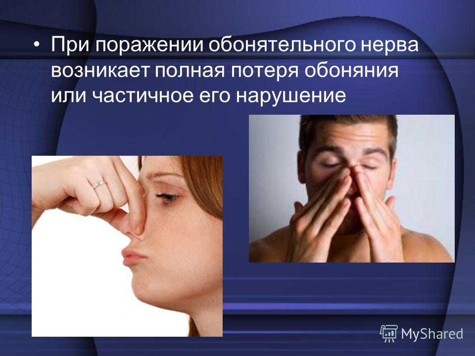 При поражении обонятельного нерва возникает полная потеря обоняния или частичное его нарушение