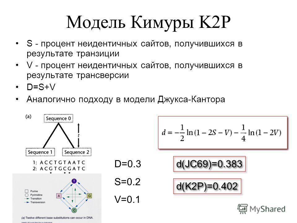 Модель Кимуры K2P S - процент неидентичных сайтов, получившихся в результате транзиции V - процент неидентичных сайтов, получившихся в результате трансверсии D=S+V Аналогично подходу в модели Джукса-Кантора D=0.3 S=0.2 V=0.1 d(JC69)=0.383 d(K2P)=0.40