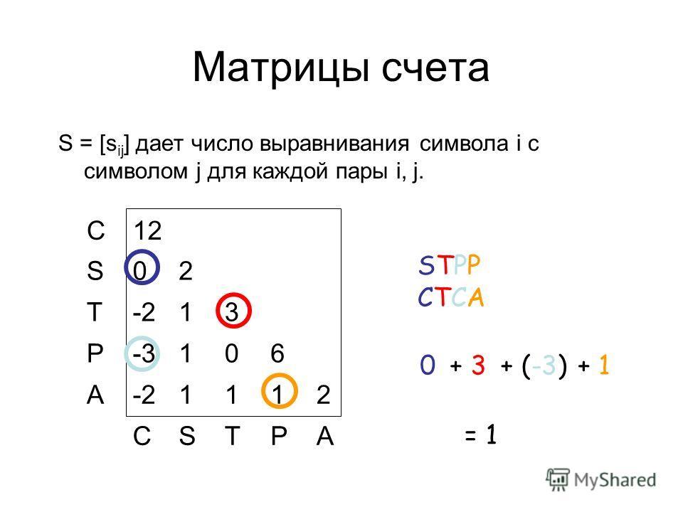 Матрицы счета S = [s ij ] дает число выравнивания символа i с символом j для каждой пары i, j. C12 S02 T-213 P-3106 A-21112 CSTPA STPPCTCASTPPCTCA 0 + 3 + (-3) + 1 = 1