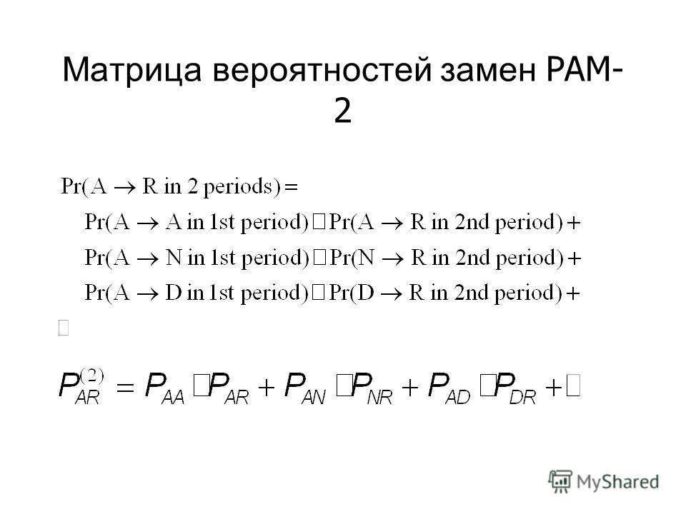 Матрица вероятностей замен PAM- 2