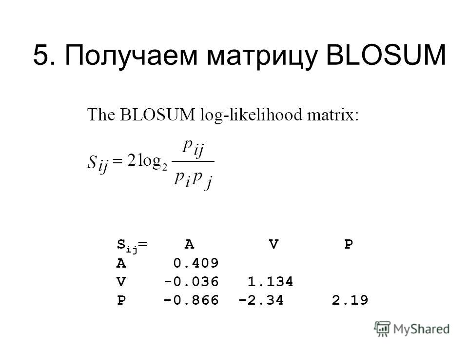 5. Получаем матрицу BLOSUM