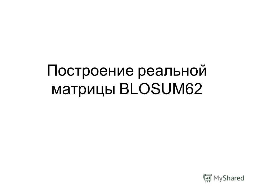 Построение реальной матрицы BLOSUM62