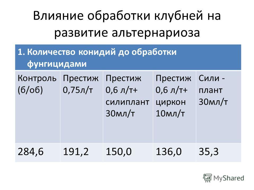 Влияние обработки клубней на развитие альтернариоза 1.Количество конидий до обработки фунгицидами Контроль (б/об) Престиж 0,75л/т Престиж 0,6 л/т+ силиплант 30мл/т Престиж 0,6 л/т+ циркон 10мл/т Сили - плант 30мл/т 284,6191,2150,0136,035,3