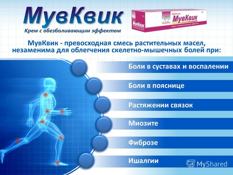 МувКвик - превосходная смесь растительных масел, незаменима для облегчения скелетно-мышечных болей при: Боли в суставах и воспалении Боли в пояснице Растяжении связок Миозите Фиброзе Ишалгии