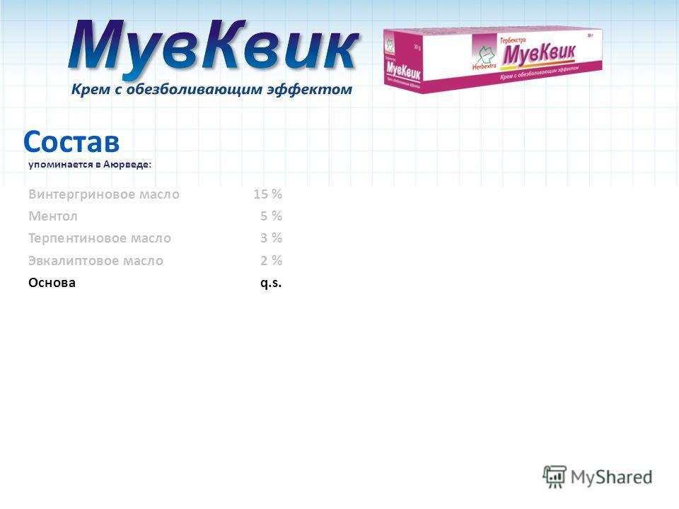 Состав упоминается в Аюрведе: Основаq.s. Ментол5 % Винтергриновое масло15 % Терпентиновое масло3 % Эвкалиптовое масло 2 %