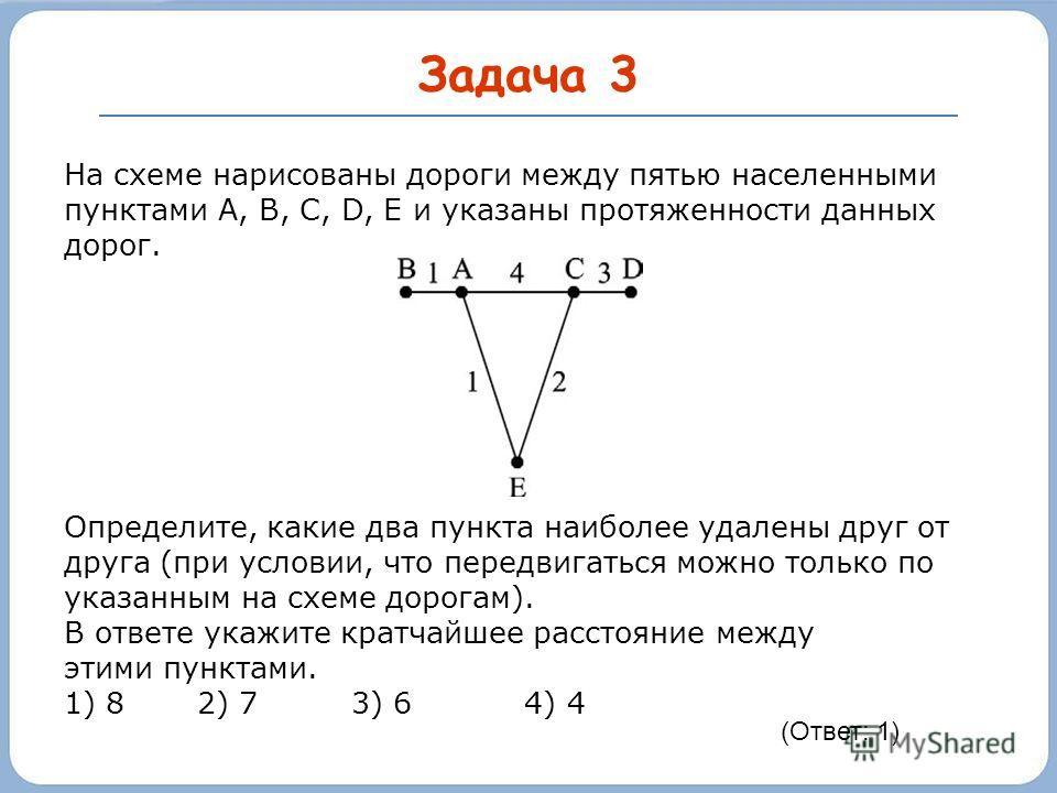 Задача 3 На схеме нарисованы дороги между пятью населенными пунктами A, B, C, D, E и указаны протяженности данных дорог. Определите, какие два пункта наиболее удалены друг от друга (при условии, что передвигаться можно только по указанным на схеме до