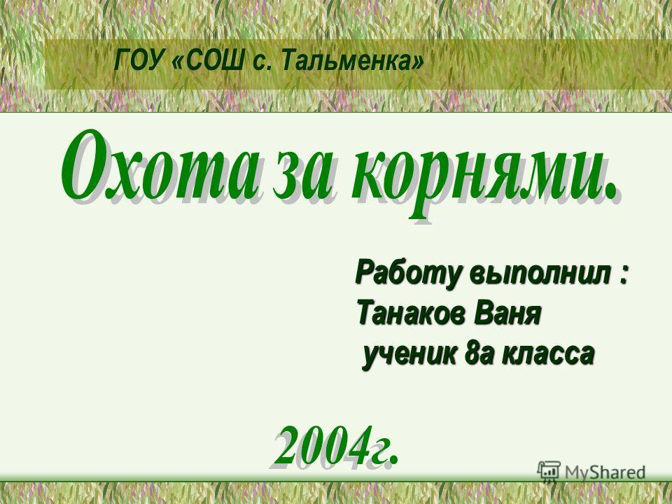 Работу выполнил : Танаков Ваня ученик 8а класса ученик 8а класса ГОУ «СОШ с. Тальменка»