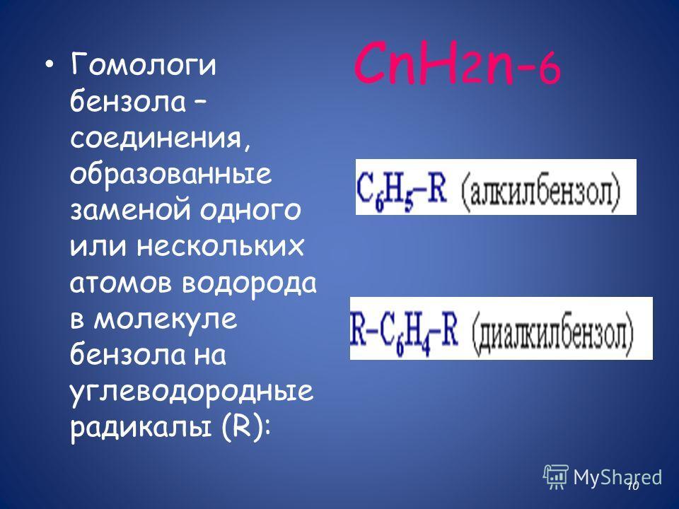 СnH 2 n- 6 10 Гомологи бензола – соединения, образованные заменой одного или нескольких атомов водорода в молекуле бензола на углеводородные радикалы (R):