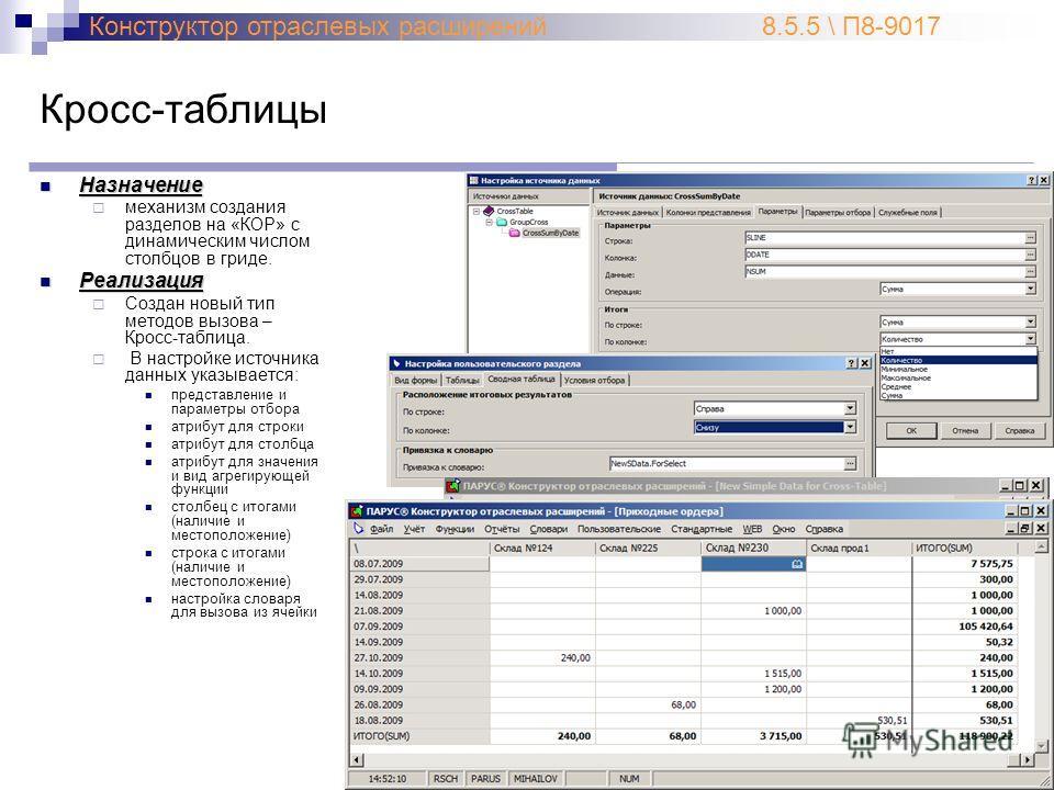 Кросс-таблицы Назначение Назначение механизм создания разделов на «КОР» с динамическим числом столбцов в гриде. Реализация Реализация Создан новый тип методов вызова – Кросс-таблица. В настройке источника данных указывается: представление и параметры