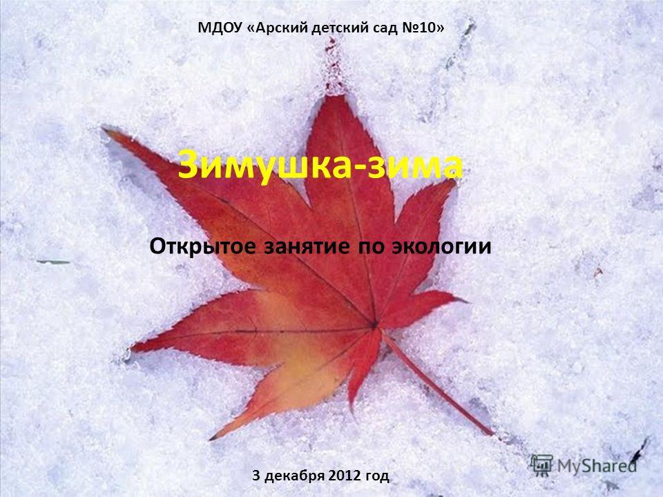 МДОУ «Арский детский сад 10» Зимушка-зима Открытое занятие по экологии 3 декабря 2012 год