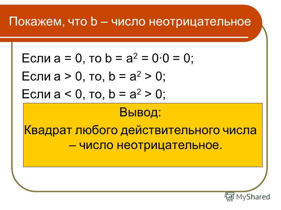 Покажем, что b – число неотрицательное Если а = 0, то b = а 2 = 0·0 = 0; Если а > 0, то, b = а 2 > 0; Если а 0; Вывод: Квадрат любого действительного числа – число неотрицательное.