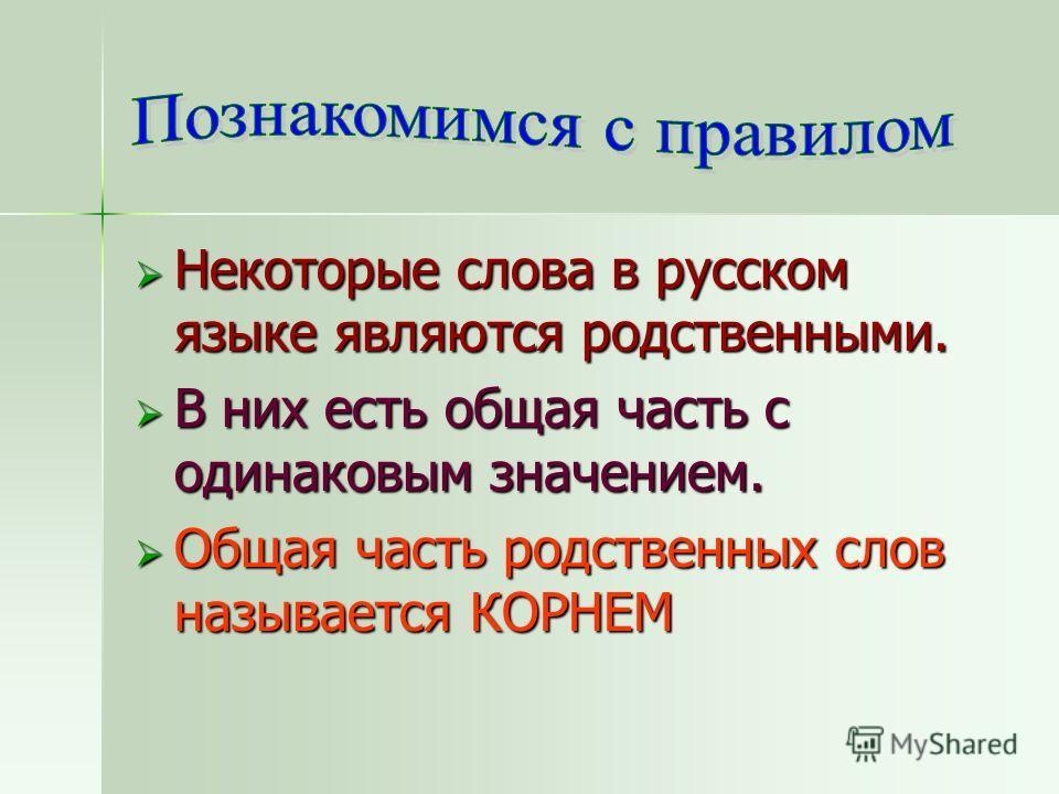 Некоторые слова в русском языке являются родственными. Некоторые слова в русском языке являются родственными. В них есть общая часть с одинаковым значением. В них есть общая часть с одинаковым значением. Общая часть родственных слов называется КОРНЕМ