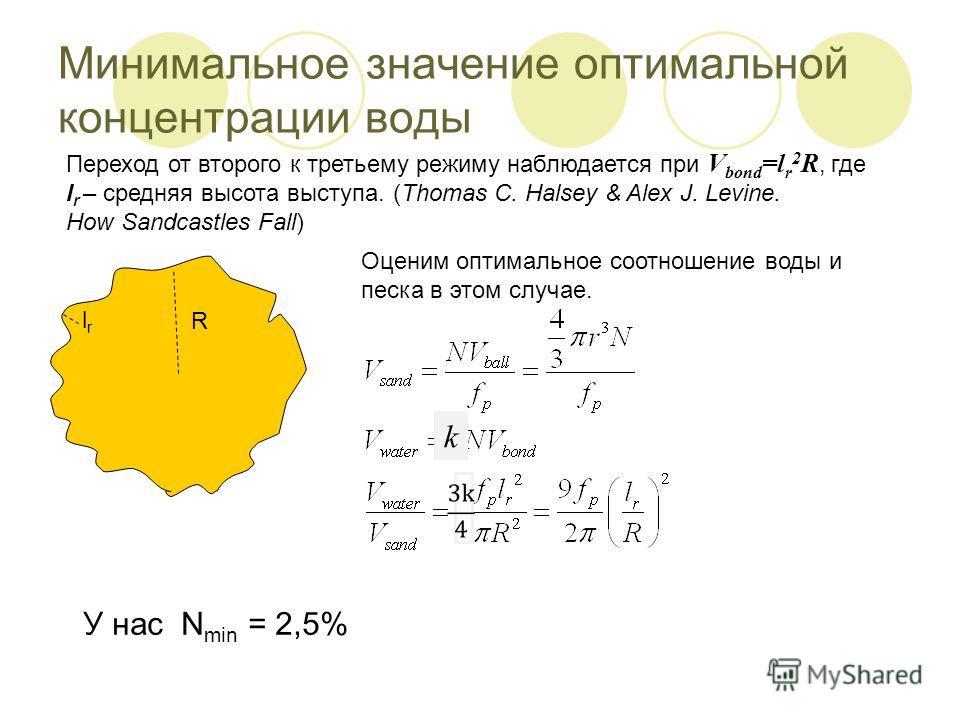 Минимальное значение оптимальной концентрации воды Переход от второго к третьему режиму наблюдается при V bond =l r 2 R, где l r – средняя высота выступа. (Thomas C. Halsey & Alex J. Levine. How Sandcastles Fall) Оценим оптимальное соотношение воды и